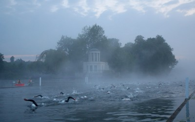 Swimmers Take Part In The Black Sheep Henley Swim